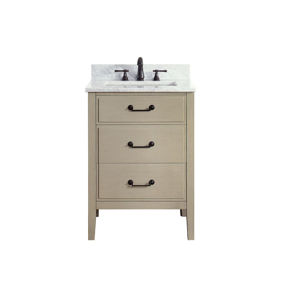 Meuble-lavabo Avanity Delano au fini taupe satiné avec comptoir en marbre de Carrare blanc de 25...