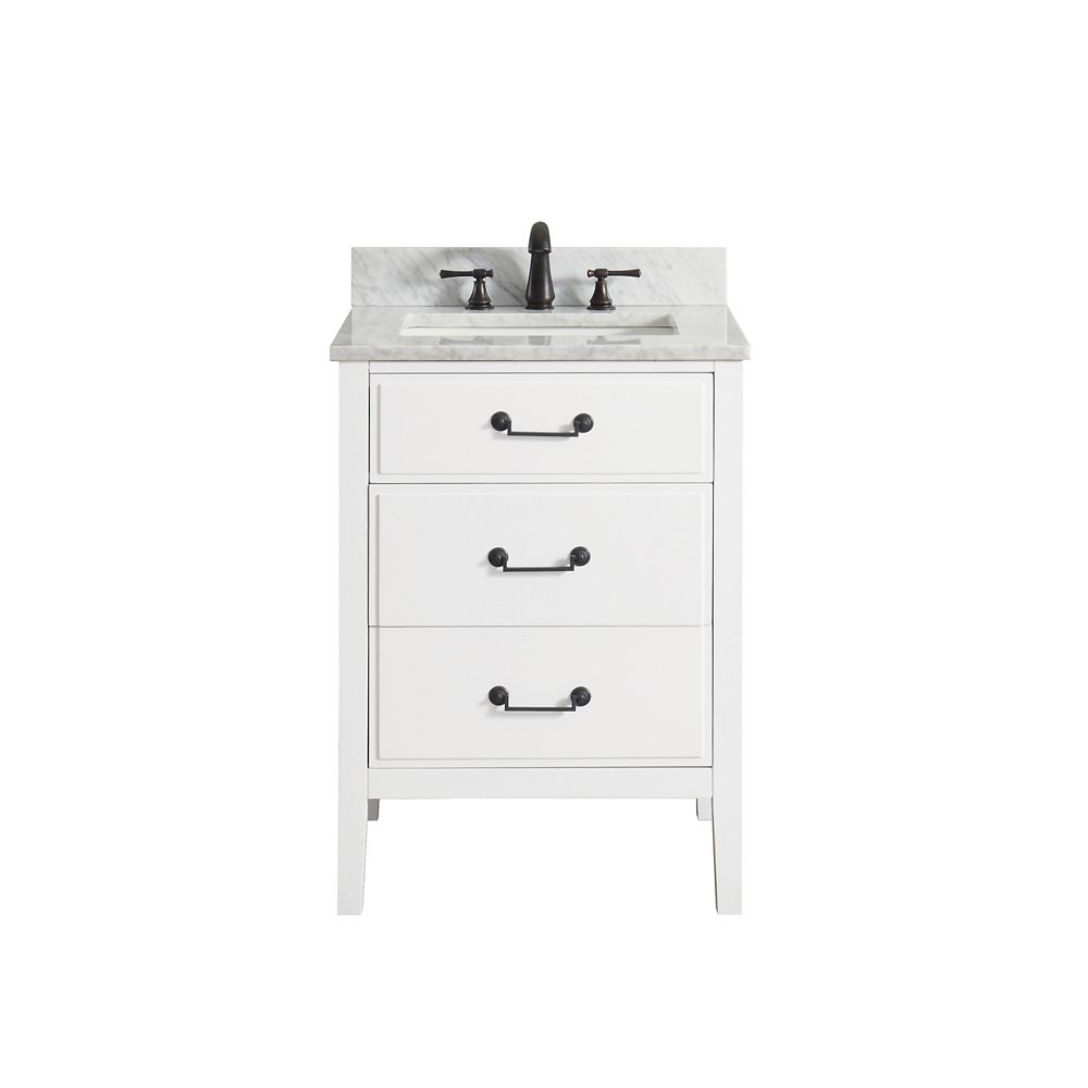 Delano 25 Inch Vanity Combo In White Finish With Carrera White Top