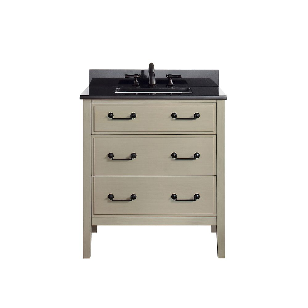 simpli home adele 30 inch bath vanity with black granite top the home depot canada. Black Bedroom Furniture Sets. Home Design Ideas