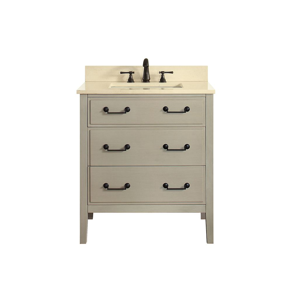 Delano 31 Inch Vanity Combo In Taupe Glaze Finish With Galala Beige Top
