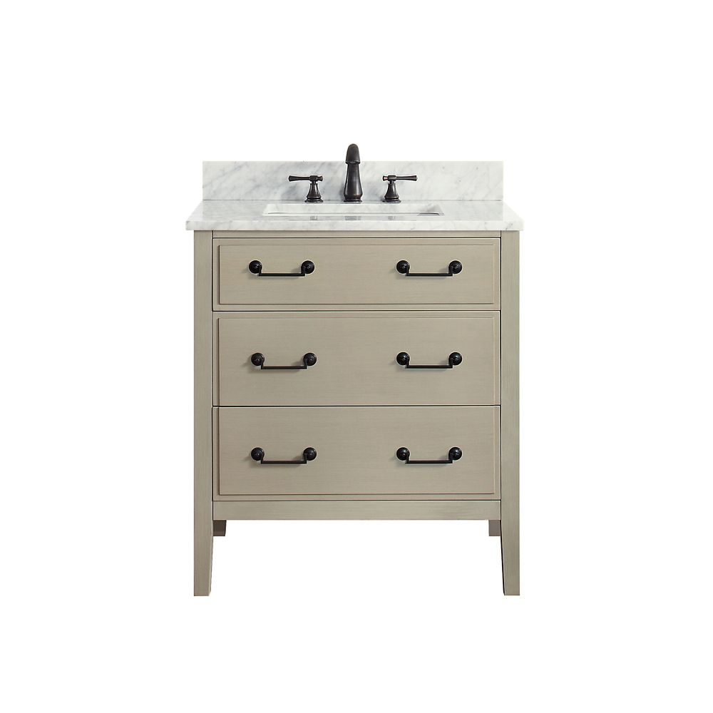 Delano 31 Inch Vanity Combo In Taupe Glaze Finish With Carrera White Top