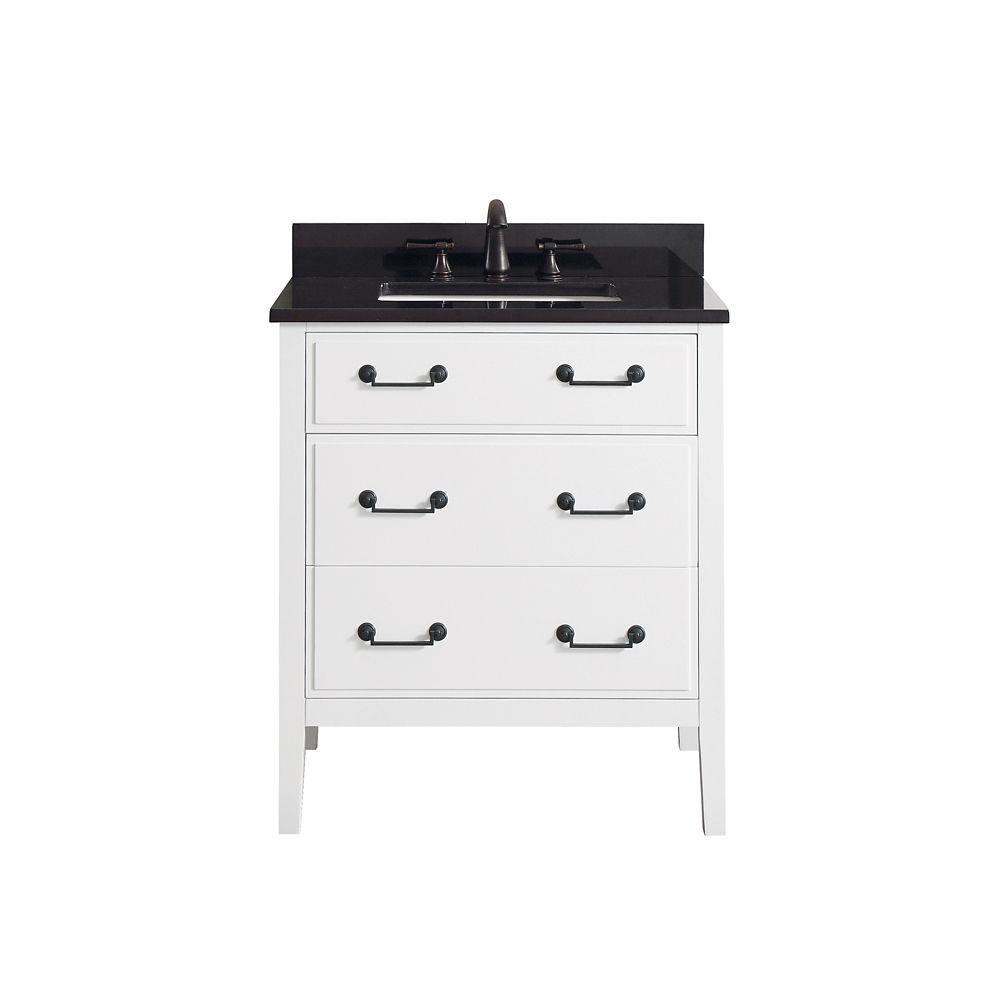 Delano 31 Inch Vanity Combo In White Finish With Black Granite Top