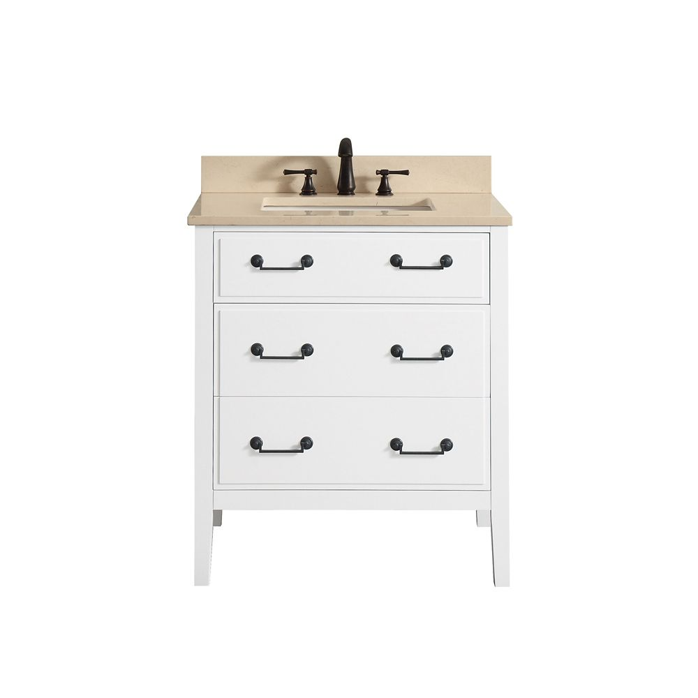 Avanity Delano 31 Inch Vanity Combo In White Finish With Galala Beige Top