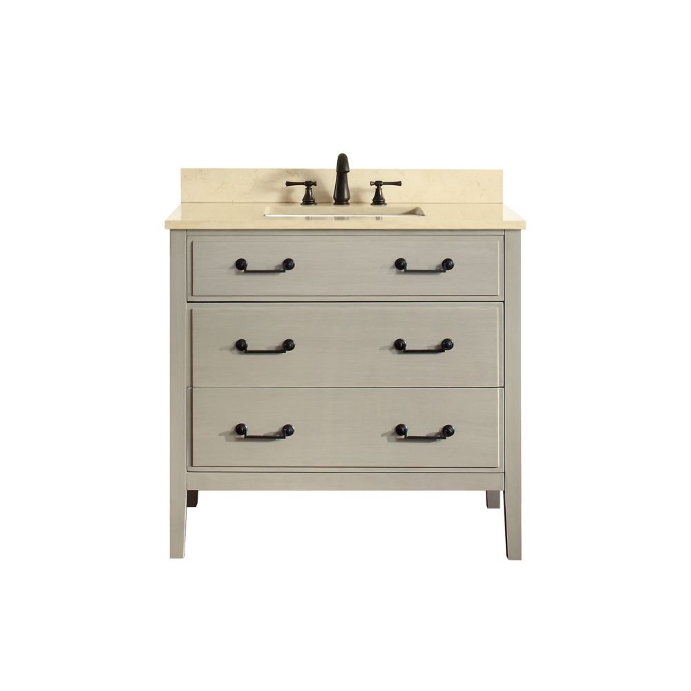 Delano 37 Inch Vanity Combo In Taupe Glaze Finish With Galala Beige Top