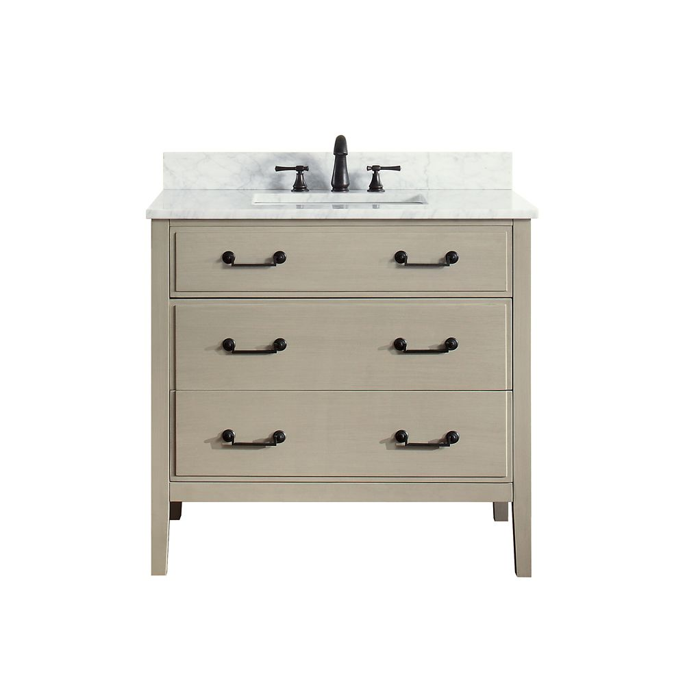 Delano 37 Inch Vanity Combo In Taupe Glaze Finish With Carrera White Top