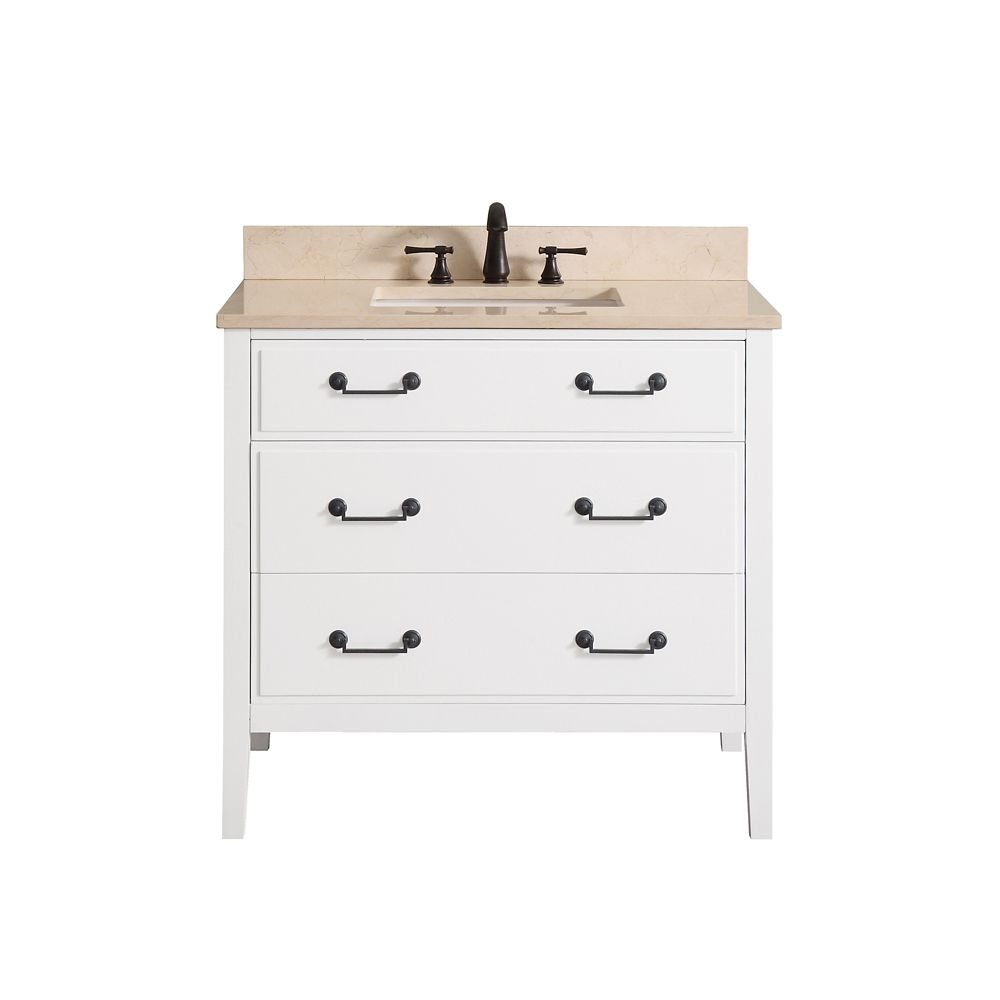 Delano 37 Inch Vanity Combo In White Finish With Galala Beige Top