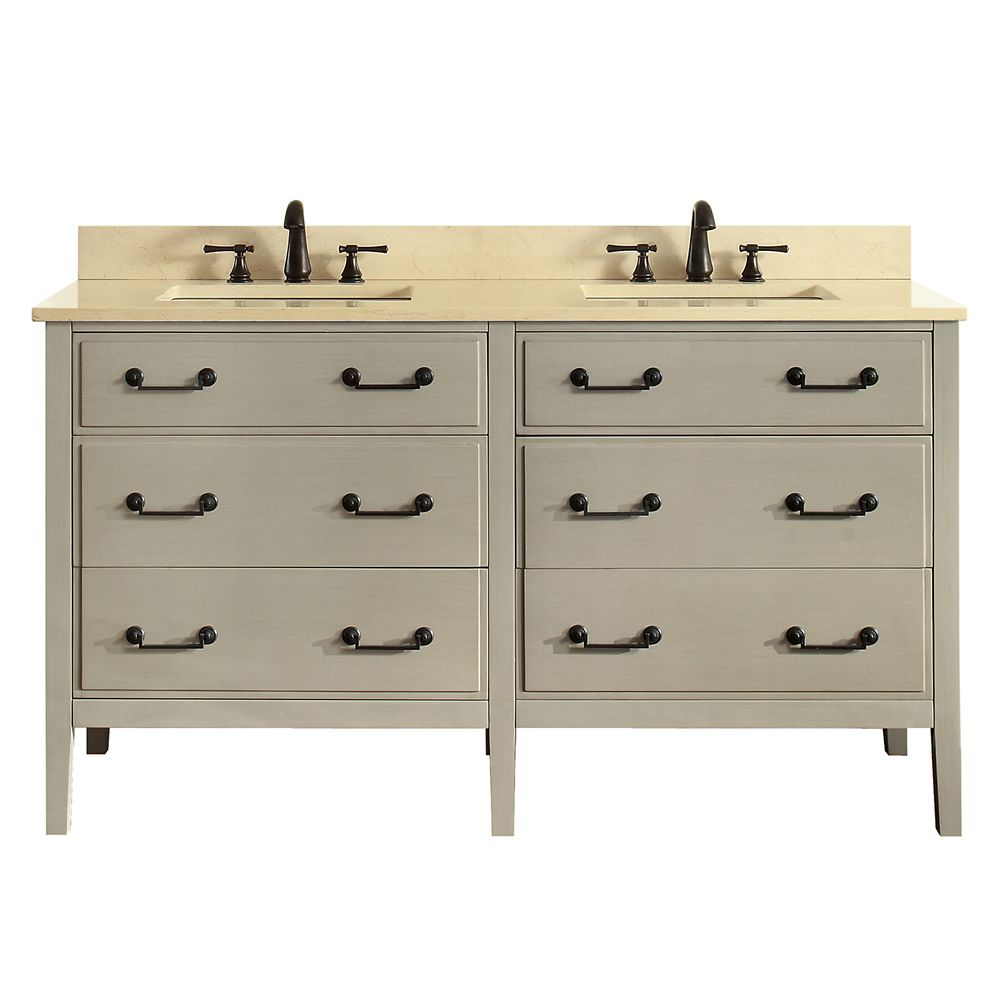 Delano 61 Inch Double Sink Vanity Combo In Taupe Glaze Finish With Galala Beige Top