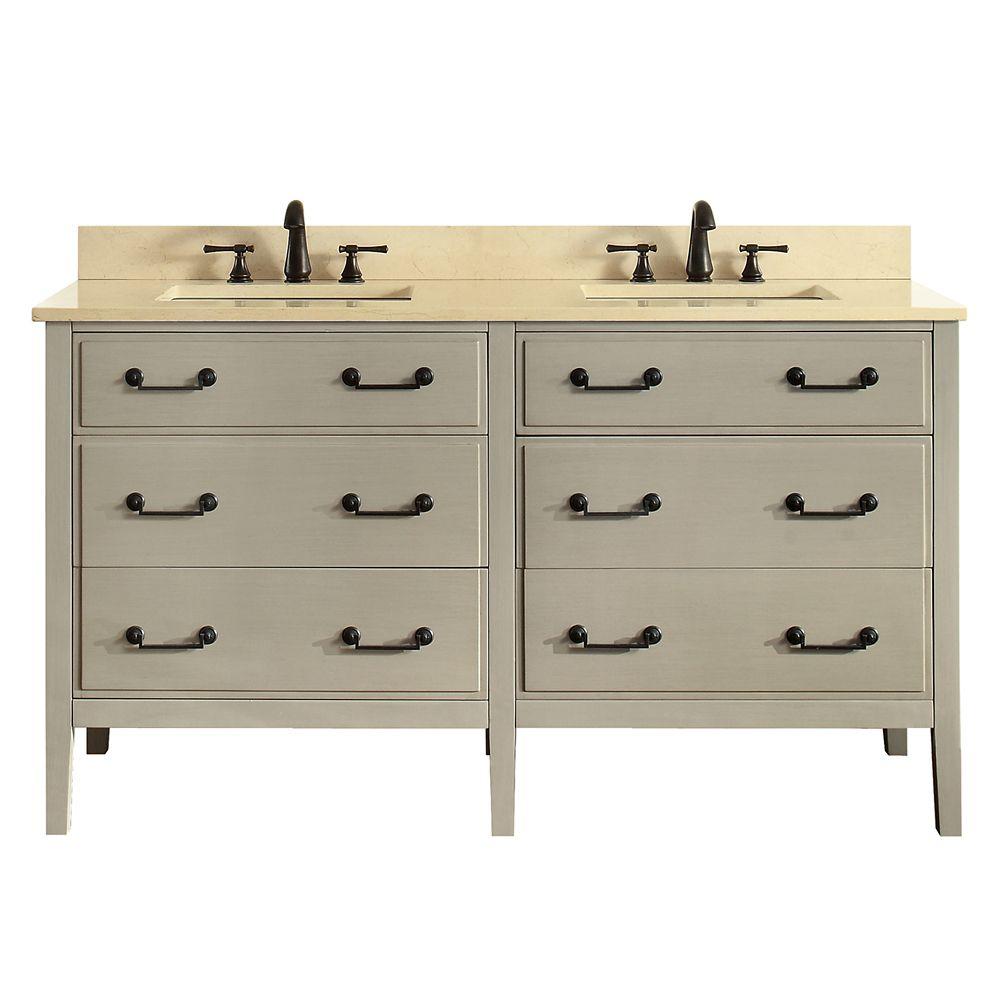 Meuble-lavabo double Delano taupe satiné comptoir marbre beige Galala 61 po