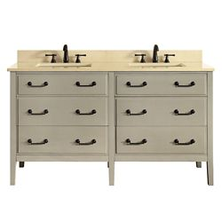 Avanity Delano 61 Inch Double Sink Vanity Combo In Taupe Glaze Finish With Galala Beige Top