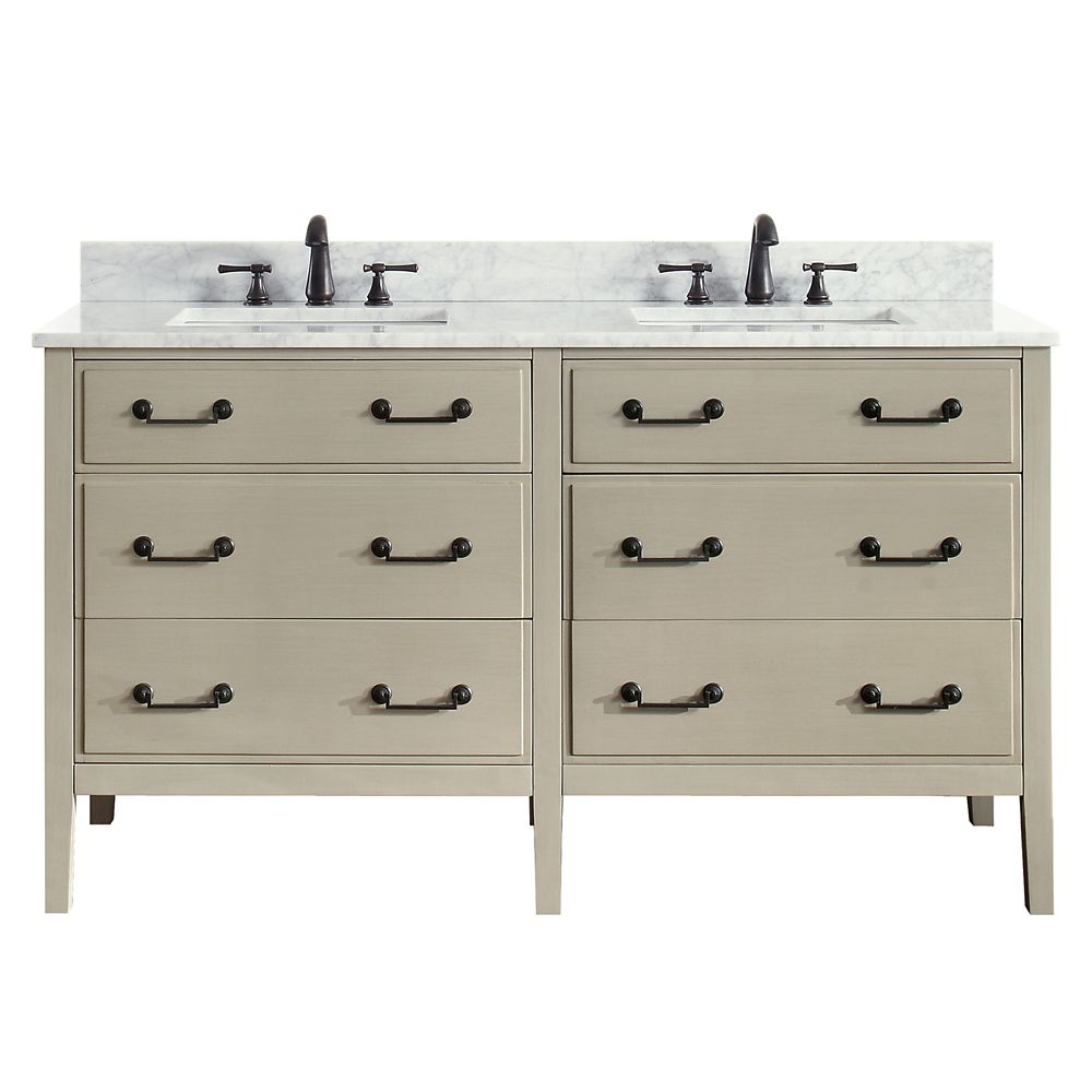 Delano 61 Inch Double Sink Vanity Combo In Taupe Glaze Finish With Carrera White Top