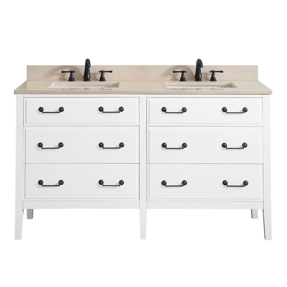 Delano 61 Inch Double Sink Vanity Combo In White Finish With Galala Beige Top