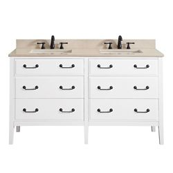 Avanity Delano 61 Inch Double Sink Vanity Combo In White Finish With Galala Beige Top