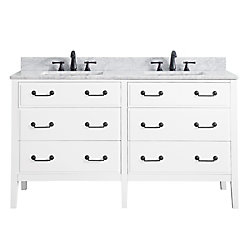 Avanity Delano 61 Inch Double Sink Vanity Combo In White Finish With Carrera White Top