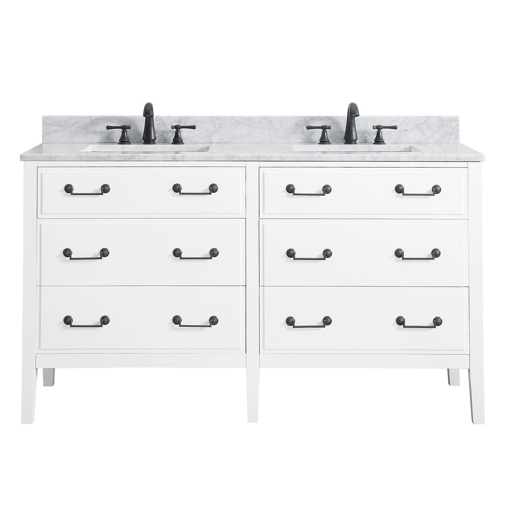 Meuble-lavabo double Avanity Delano au fini blanc avec comptoir en marbre de Carrare blanc de 61...