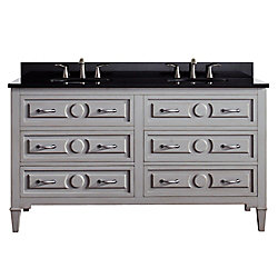 Avanity Kelly 61 Inch Double Sink Vanity Combo In Grayish Blue Finish With Black Granite Top