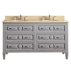 Avanity Kelly 61 Inch Double Sink Vanity Combo In Grayish Blue Finish With Galala Beige Top