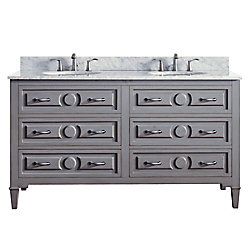 Avanity Kelly 61 Inch Double Sink Vanity Combo In Grayish Blue Finish With Carrera White Top