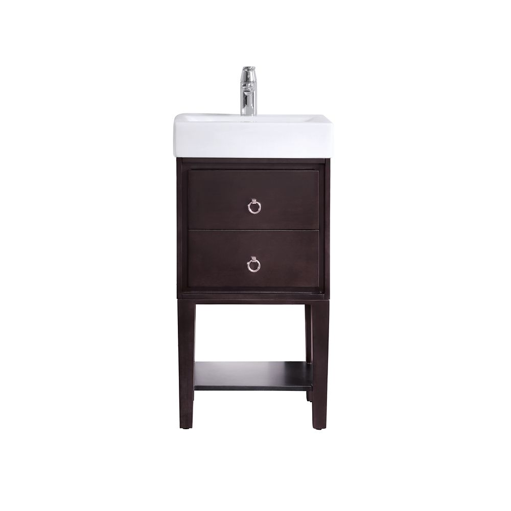 Kent 18 Inch Vanity In Coffee Finish With Vitreous China Top