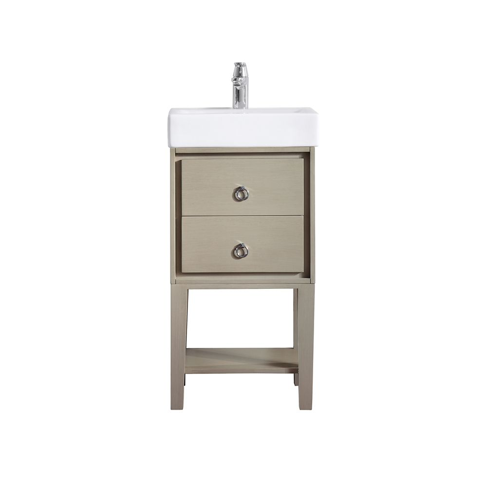 Kent 18 Inch Vanity In Taupe Glaze Finish With Vitreous China Top