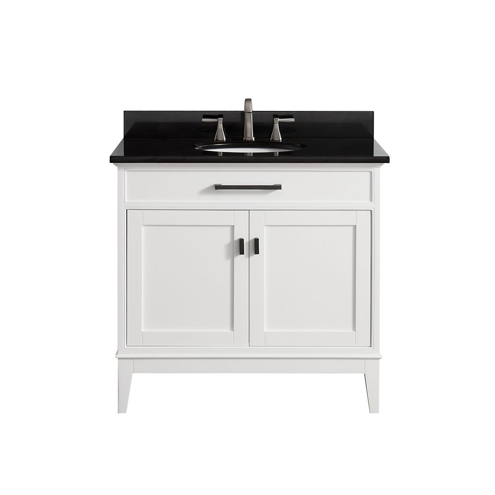 Madison 37 Inch Vanity Combo In White Finish With Black Granite Top