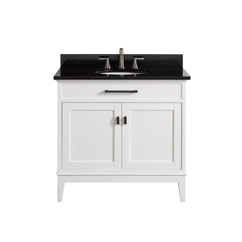 Meuble-lavabo Avanity Madison au fini blanc avec comptoir en granite noir de 37po