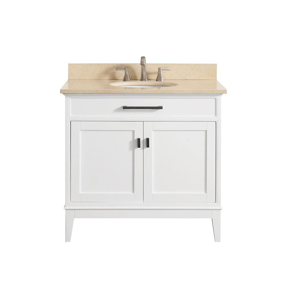 Meuble-lavabo Avanity Madison au fini blanc avec comptoir en marbre beige au fini Galala de 37po