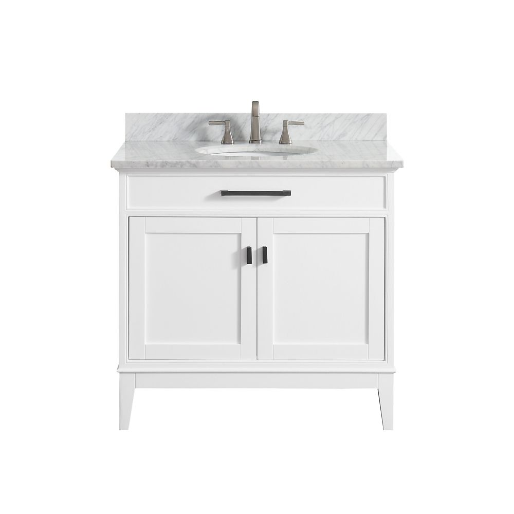 Madison 37 Inch Vanity Combo In White Finish With Carrera White Top