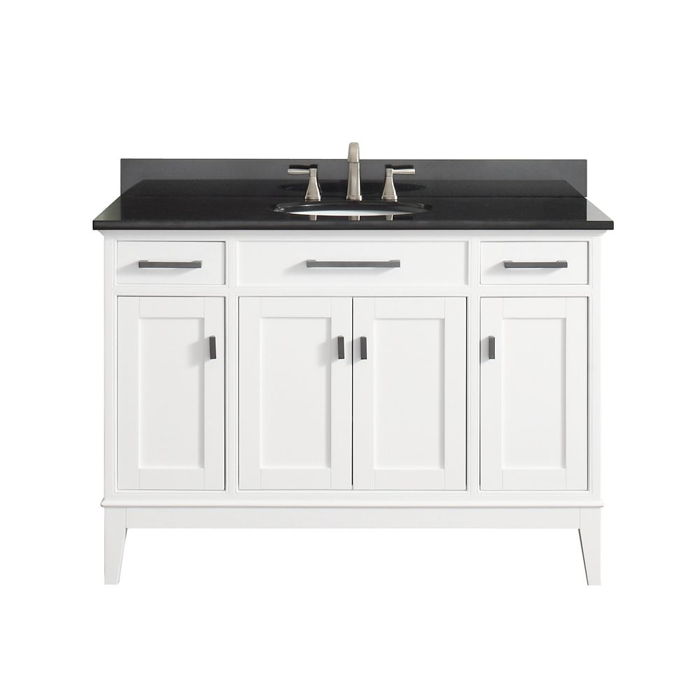 Madison 49 Inch Vanity Combo In White Finish With Black Granite Top