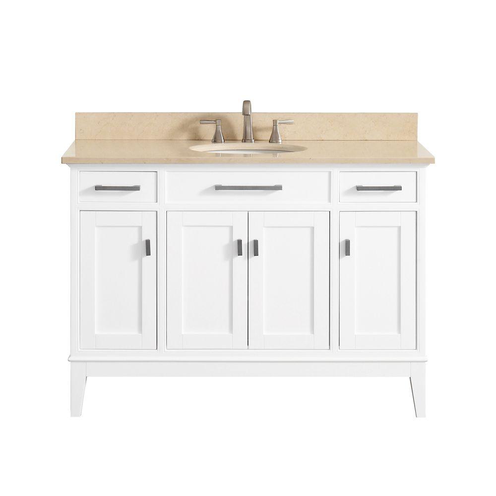 Meuble-lavabo Avanity Madison au fini blanc avec comptoir en marbre beige au fini Galala de 49po