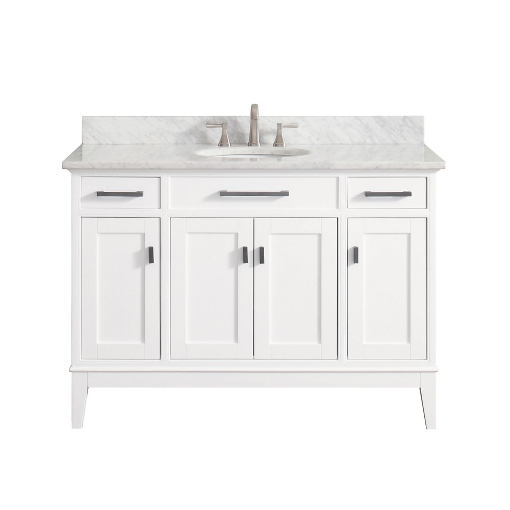 Madison 49 Inch Vanity Combo In White Finish With Carrera White Top