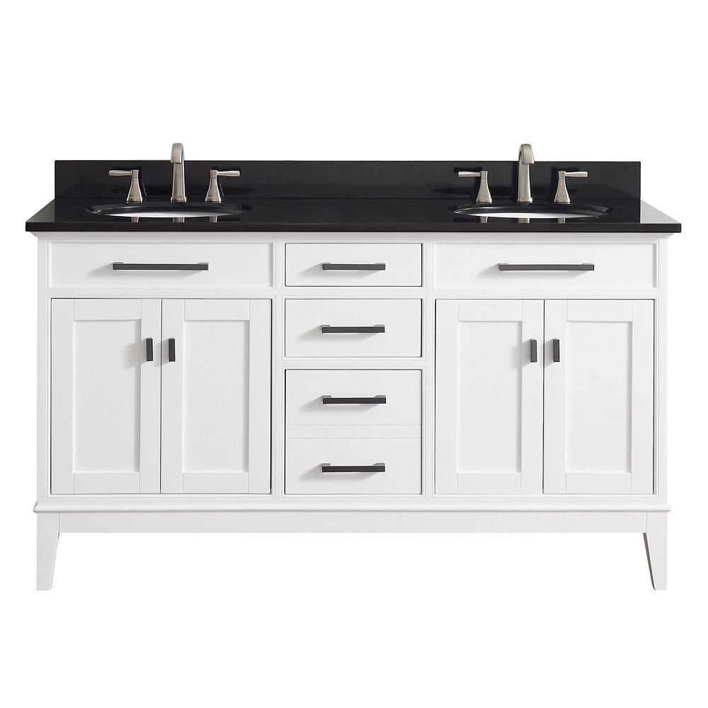 Meuble-lavabo double Avanity Madison au fini blanc avec comptoir en granite noir de 61po