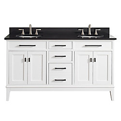 Avanity Madison 61 Inch Double Sink Vanity Combo In White Finish With Black Granite Top