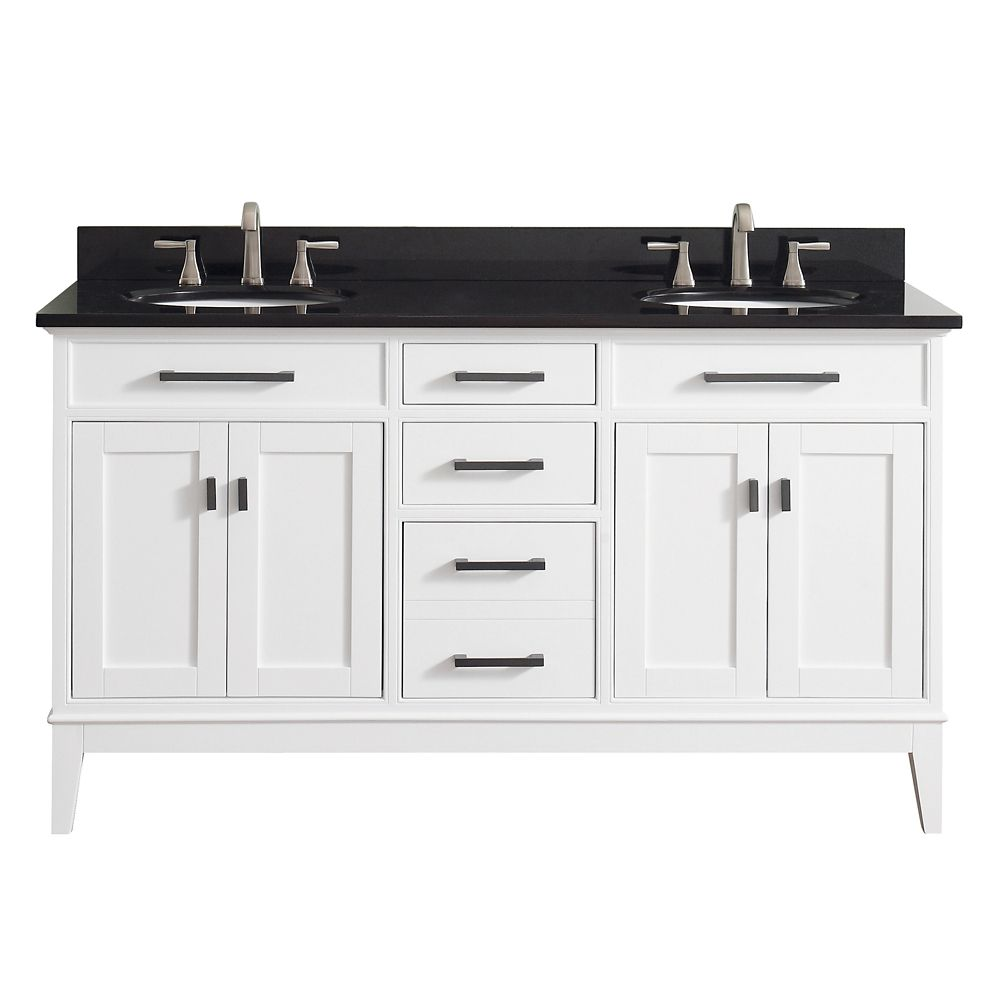 Madison 61 Inch Double Sink Vanity Combo In White Finish With Black Granite Top