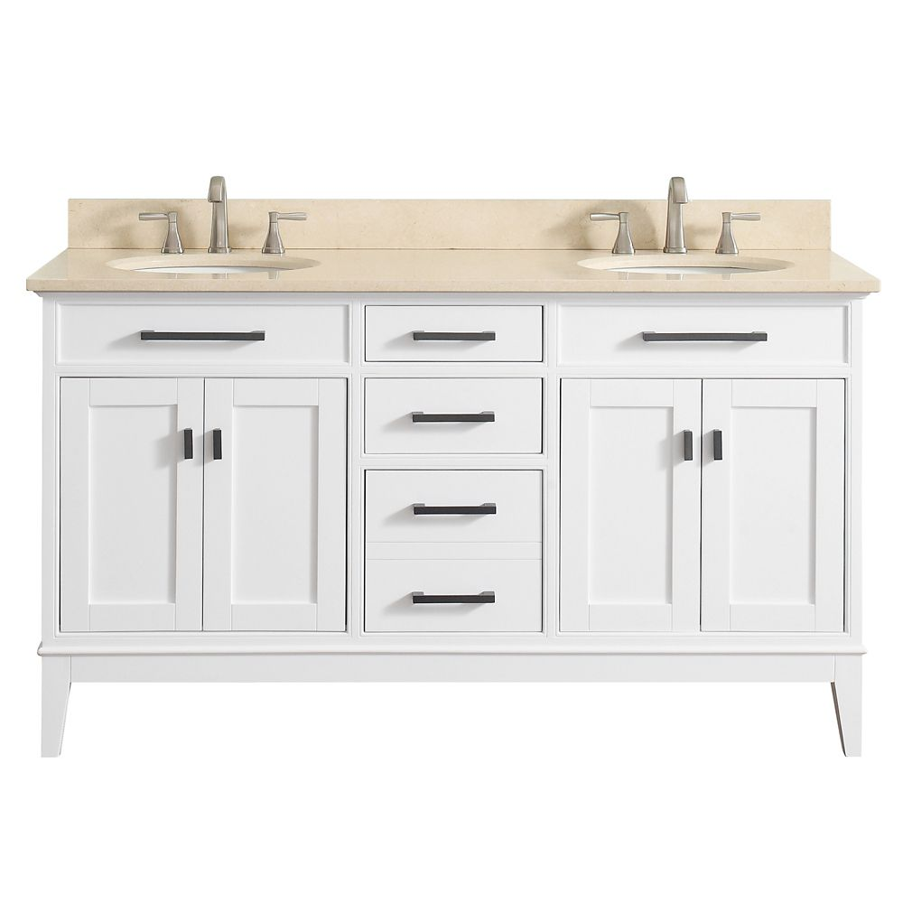 Madison 61 Inch Double Sink Vanity Combo In White Finish With Galala Beige Top