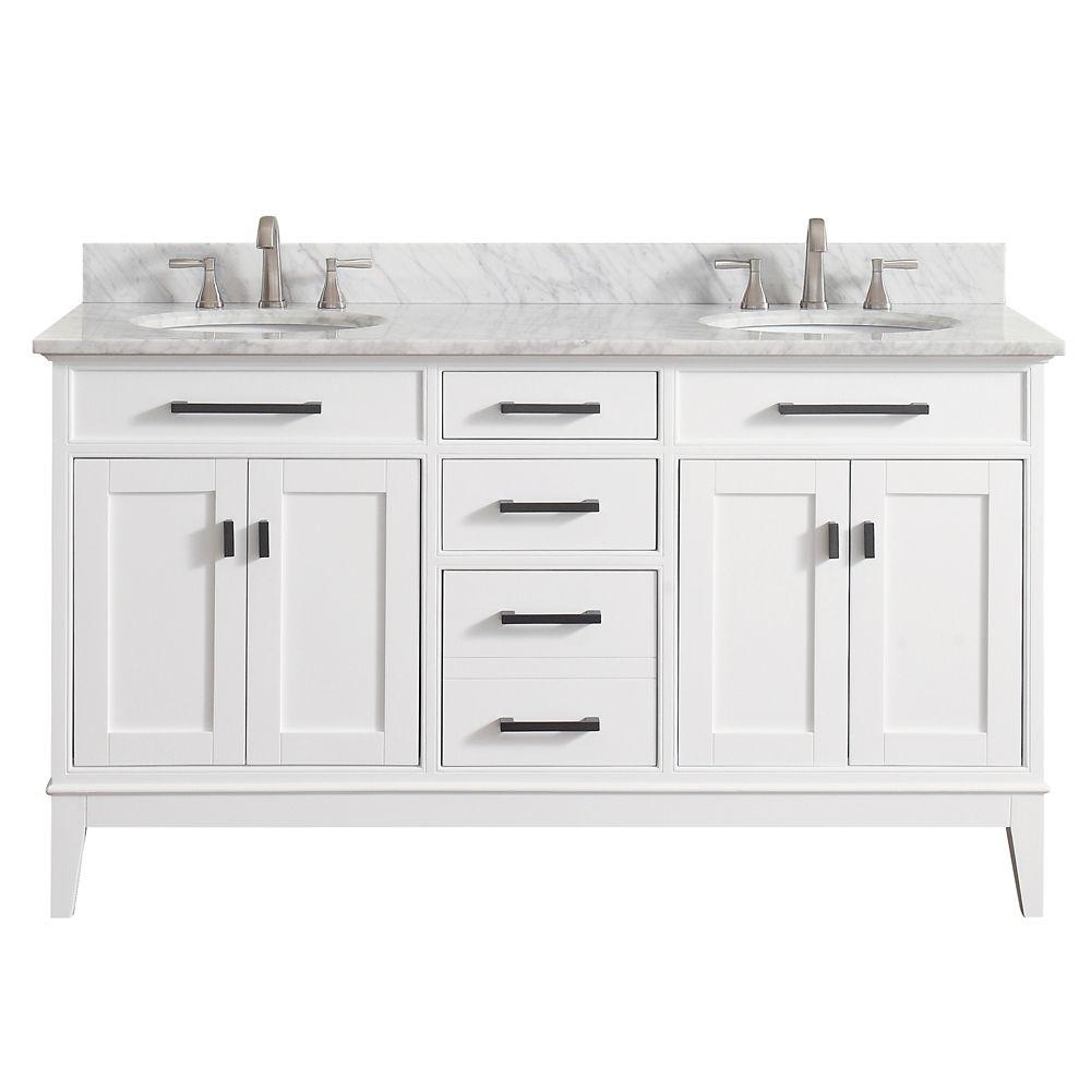 Meuble-lavabo double Avanity Madison au fini blanc avec comptoir en marbre de Carrare blanc de 61...