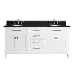 Avanity Madison 73 Inch Double Sink Vanity Combo In White Finish With Black Granite Top