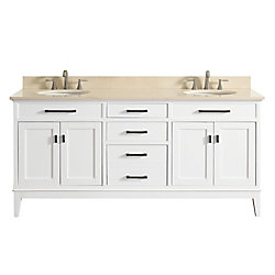 Avanity Madison 73 Inch Double Sink Vanity Combo In White Finish With Galala Beige Top
