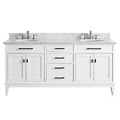 Madison 73 Inch Double Sink Vanity Combo In White Finish With Carrera White Top