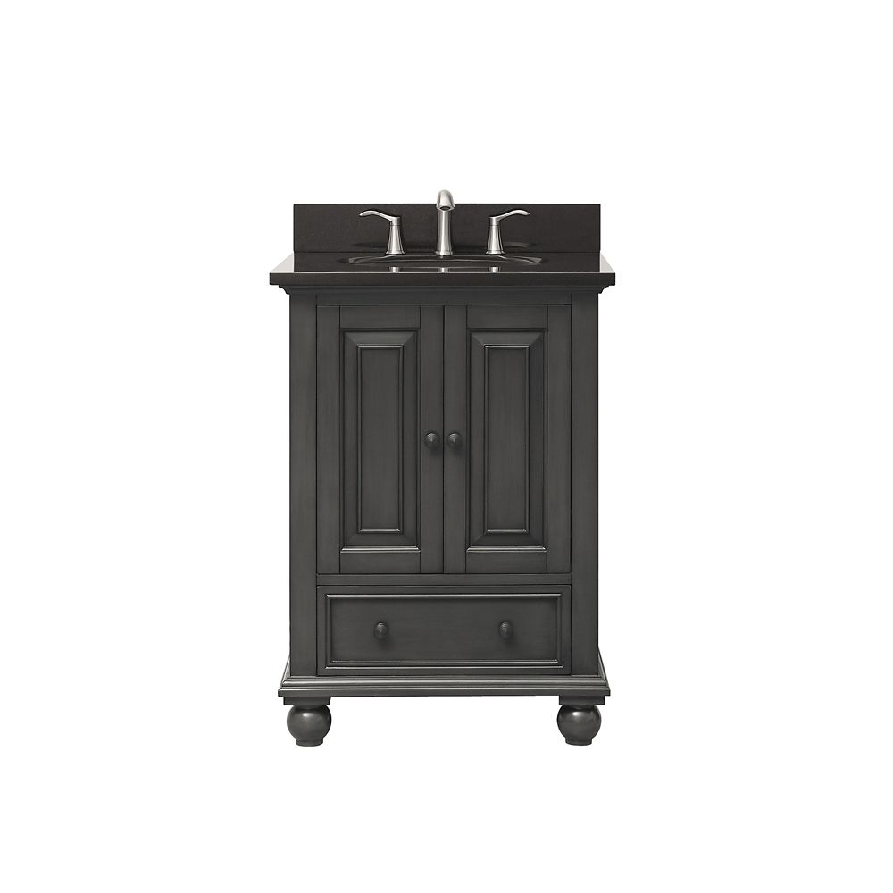 Avanity Thompson 25 Inch Vanity Combo In Charcoal Glaze Finish With Black Granite Top