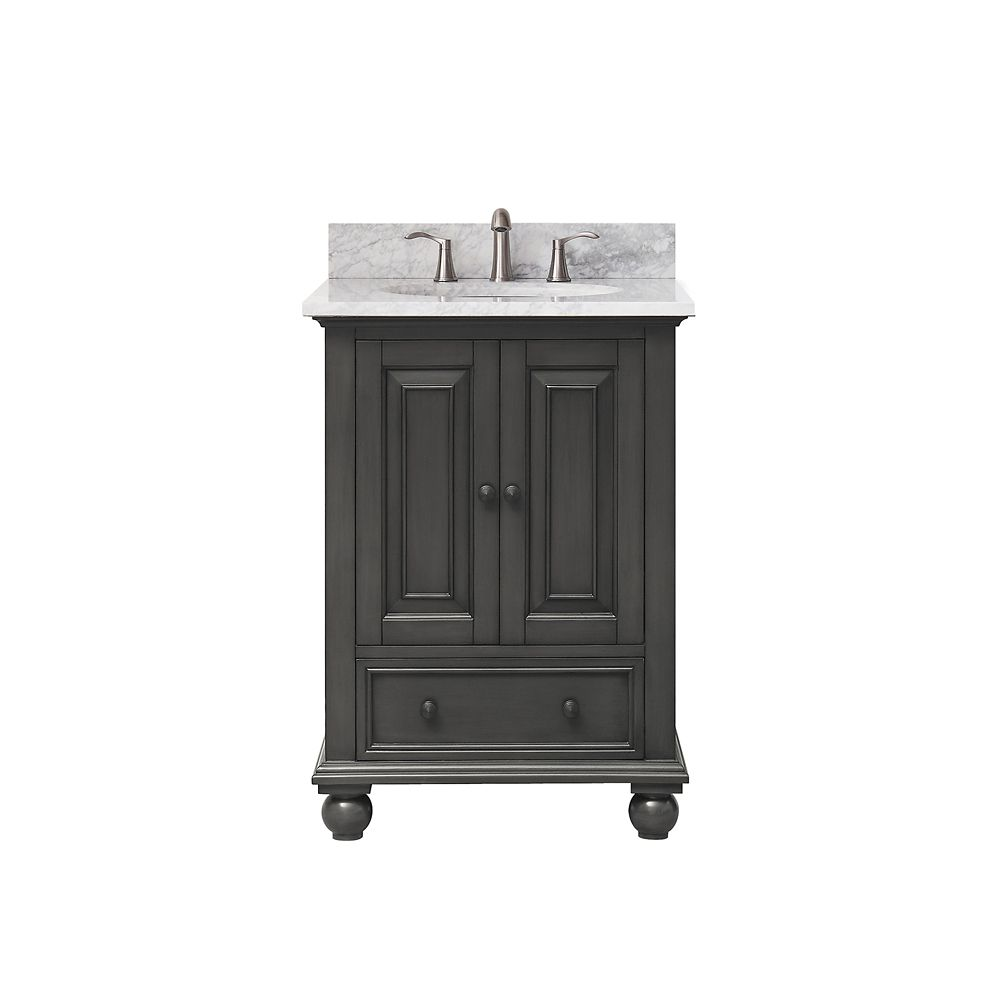 Thompson 25 Inch Vanity Combo In Charcoal Glaze Finish With Carrera White Top