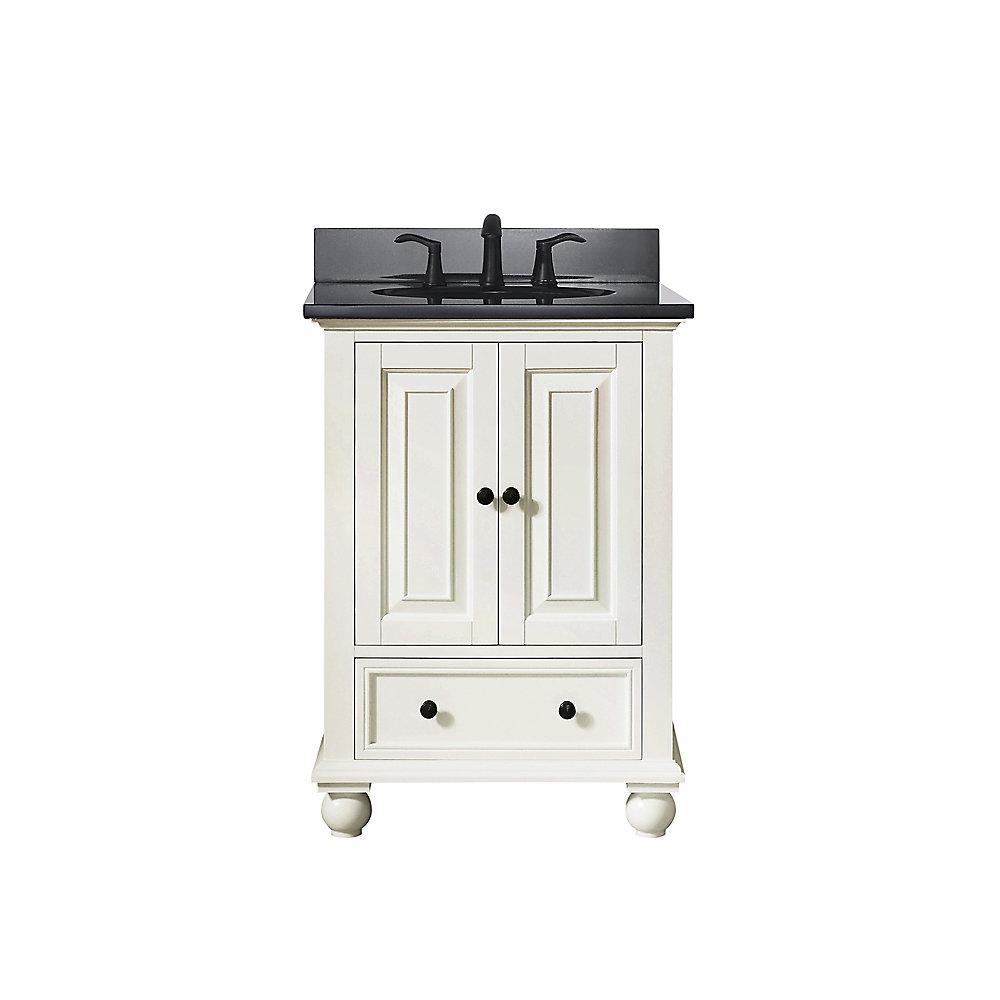 Meuble-lavabo Avanity Thompson au fini blanc français avec comptoir en granite noir de 25po