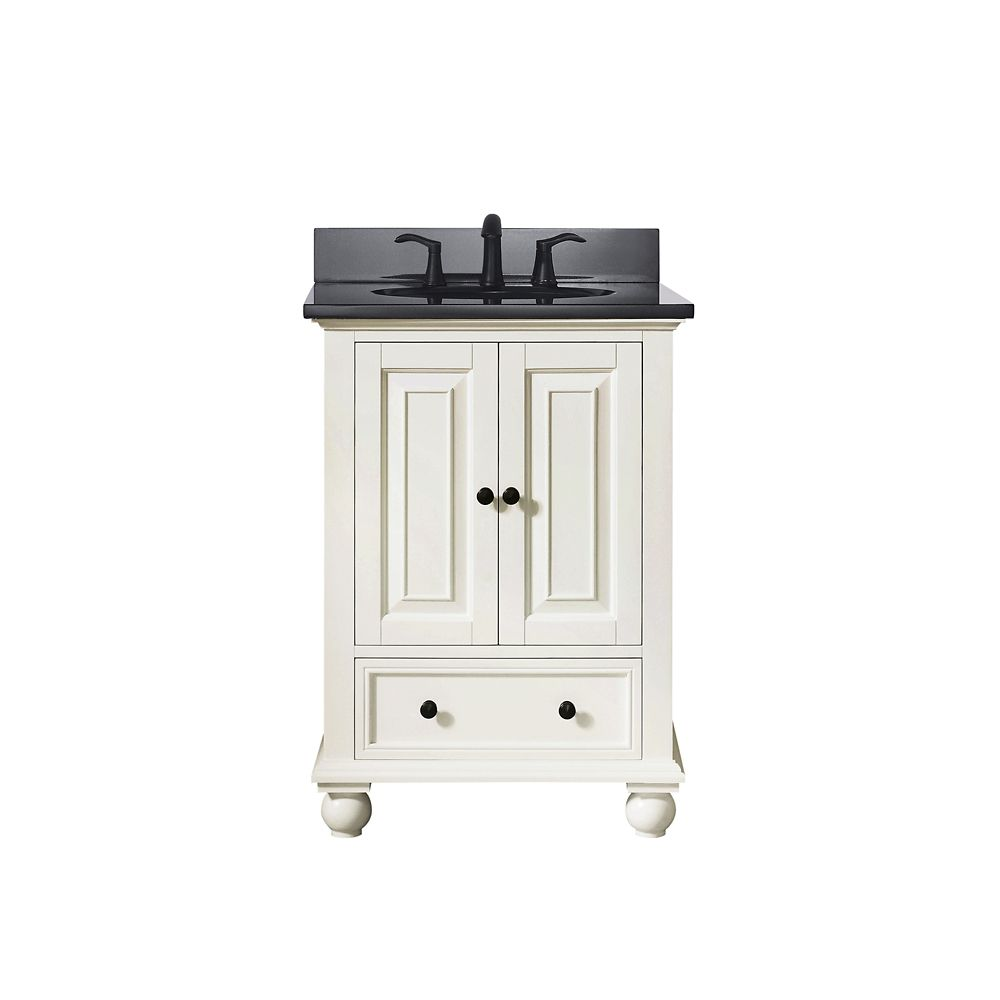 Avanity Thompson 25 Inch Vanity Combo In French White Finish With Black Granite Top