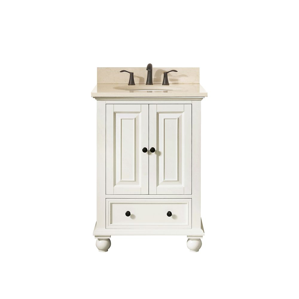 Thompson 25 Inch Vanity Combo In French White Finish With Galala Beige Top