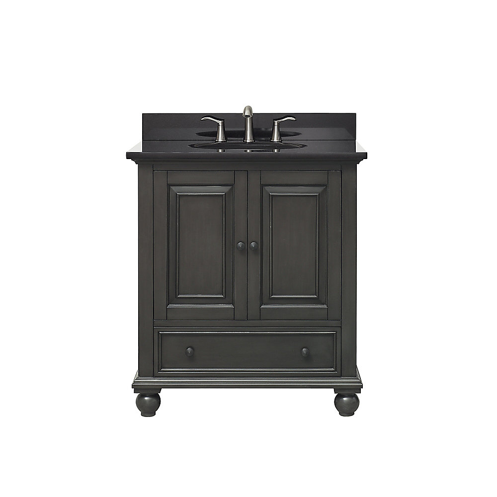 Thompson 31 Inch Vanity Combo In Charcoal Glaze Finish With Black Granite Top