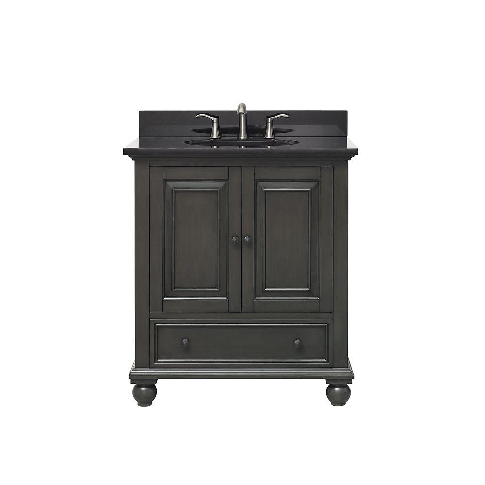 Avanity Thompson 31 Inch Vanity Combo In Charcoal Glaze Finish With Black Granite Top