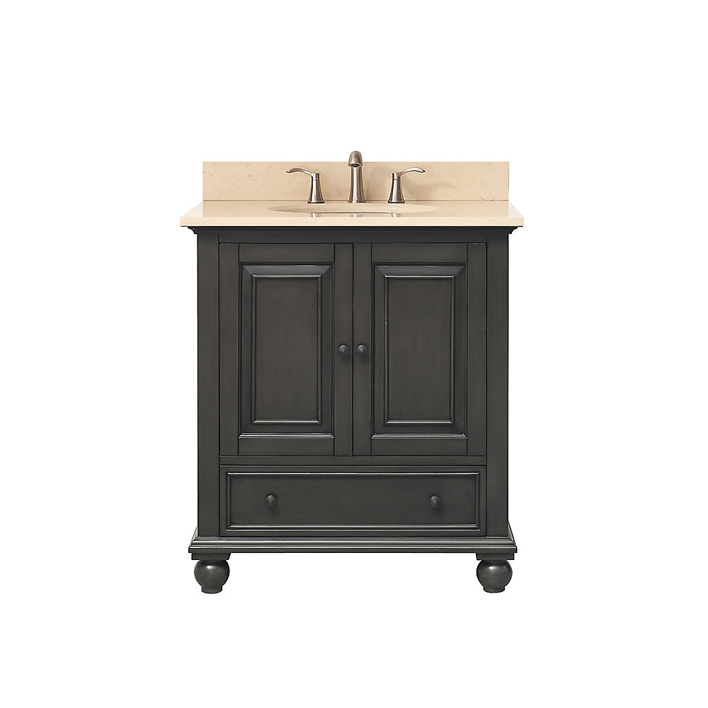 Thompson 31 Inch Vanity Combo In Charcoal Glaze Finish With Galala Beige Top