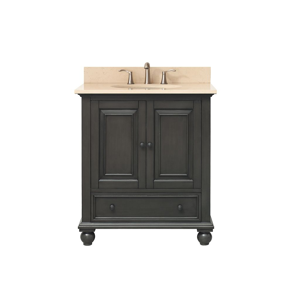 Avanity Thompson 31 Inch Vanity Combo In Charcoal Glaze Finish With Galala Beige Top