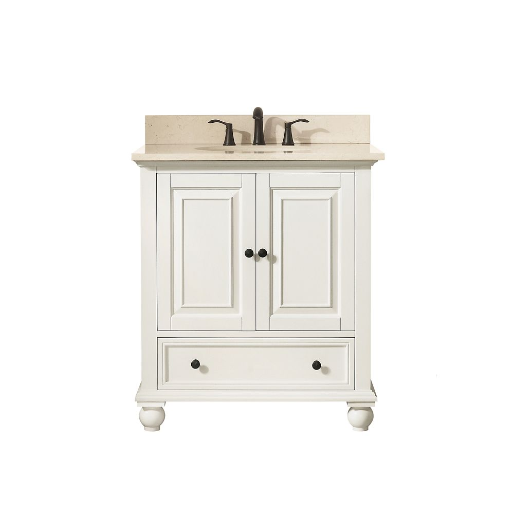 Thompson 31 Inch Vanity Combo In French White Finish With Galala Beige Top