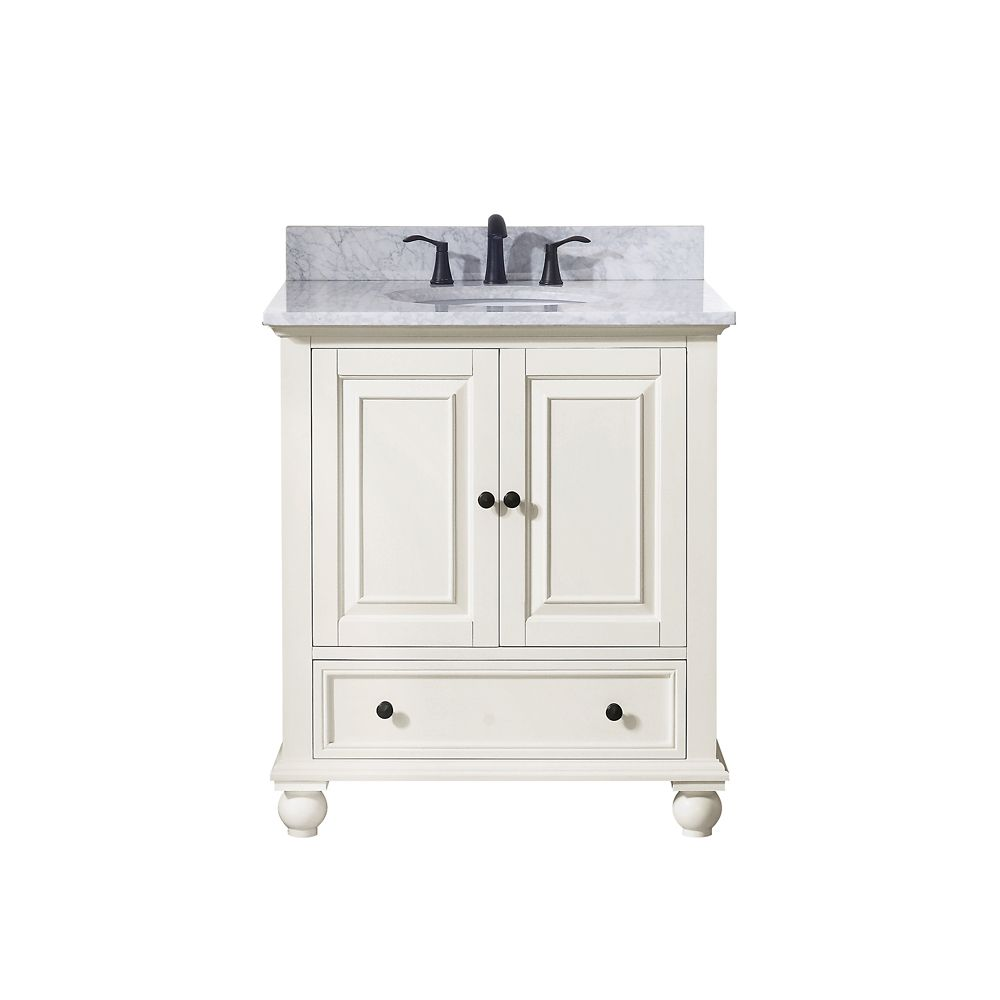 Thompson 31 Inch Vanity Combo In French White Finish With Carrera White Top