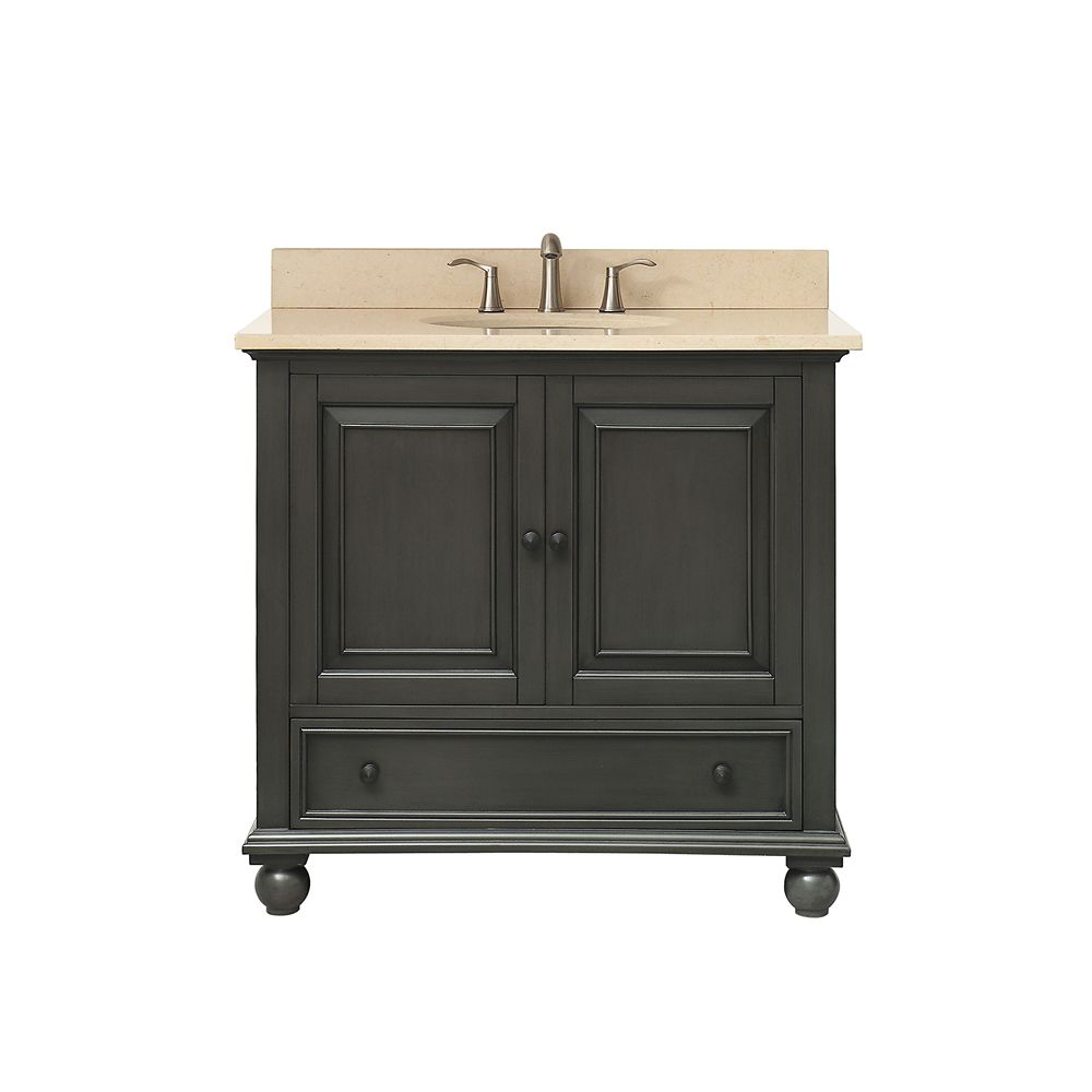 Thompson 37 Inch Vanity Combo In Charcoal Glaze Finish With Galala Beige Top